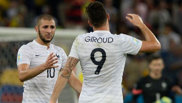 Karim Benzema y Olivier Giroud jugaron juntos en la selección de Francia hasta 2015. (Foto: AFP)