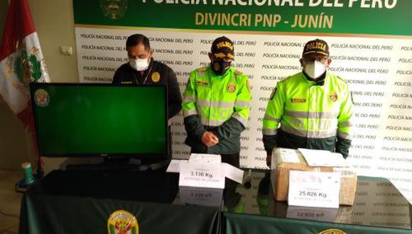 Junín: la PNP informó que el cargamento de droga era trasladado de Ayacucho hacia Lima, y tenía como ciudad de descanso Huancayo. (Foto: PNP)