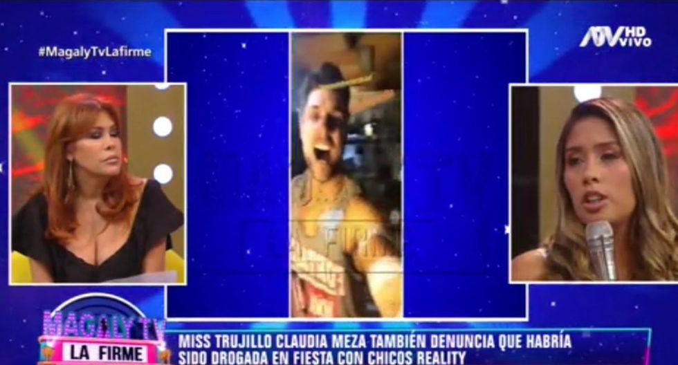 """""""Nicola Porcella me invitó"""", contó la modelo que denunció haber sido drogada en la fiesta donde estuvo Poly Ávila. (Capturas: Magaly Tv. La firme)"""