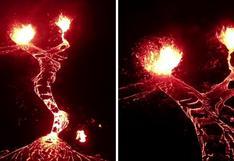 El impactante video de una erupción volcánica grabado con un dron por un fotógrafo