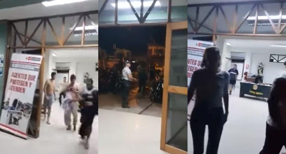 La furiosa reacción del comisario de la Comisaría de Yurimaguas ante el fuerte terremoto de 7.5 grados.