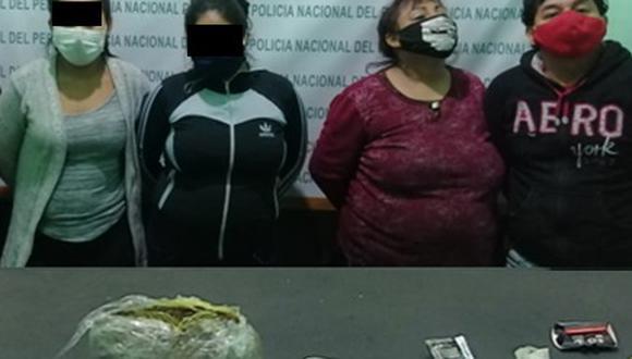 Roxana Reyes (polo rojo) junto a su pareja Héctor Wilson, sindicados como presuntos tratantes de blancas. (PNP)
