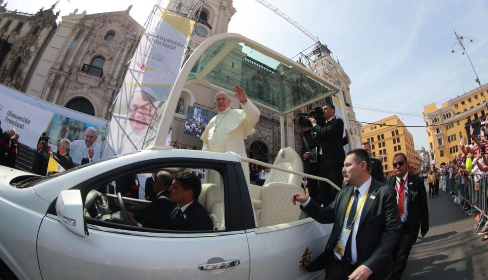 Papa Francisco termina su visita al Centro Histórico de Lima. Foto: Andina