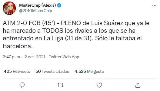 Luis Suárez alcanzó nuevo récord en LaLiga Santander. (Foto: Twitter MisterChip)