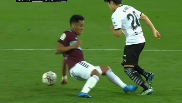 Lee Kang-In le aplicó tremenda 'huacha' a Renato Tapia en Valencia vs Celta por LaLiga Santander