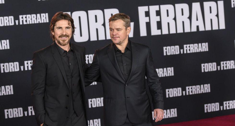 "Matt Damon y Christian Bale deslumbraron en el avant premier de la película ""Ford v Ferrari"". (Foto: AFP)"