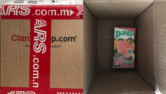 Un joven en México compró un iPhone SE por Internet y recibió a cambio una caja de jugo. | Crédito: @chapatoi / Twitter.