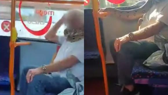 Un video viral grabado a bordo de un bus muestra a un hombre usando una serpiente como mascarilla. | Crédito: Daily Mail.