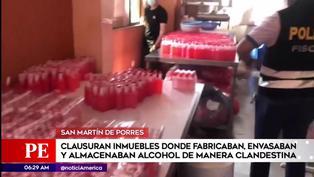 SMP: intervienen viviendas donde fabricaban alcohol en condiciones insalubres