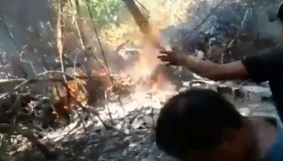 La avioneta cayó en la frondosa vegetación amazónica siete minutos después de despegar. (Foto: Twitter @YaeTeInforma)