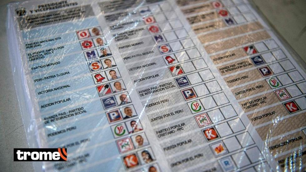 Un primer vistazo a las cédulas que se utilizarán este domingo en las Elecciones 2021. Aquí se puede apreciar el orden de los partidos políticos.