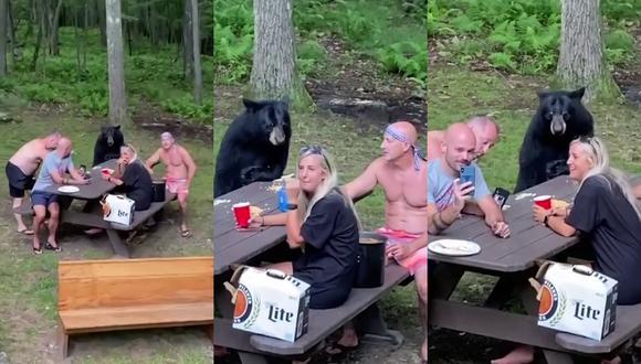 Un video viral muestra el encuentro cercano de una familia con un oso en medio de su día de picnic. | Crédito: Caters Clips / YouTube.