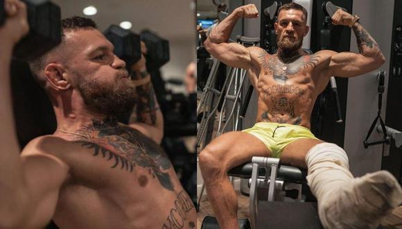 'The Notorious' Conor McGregor regresó a los entrenamientos con la pierna enyesada. (McGregor Instagram)