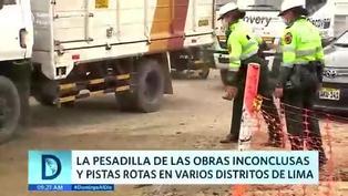 Obras inconclusas y pistas rotas generan tráfico vehicular