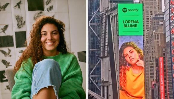 Lorena Blume llega a Times Square como parte de la campaña Spotify Equal. (Foto: Instagram @lorenablumemusica).