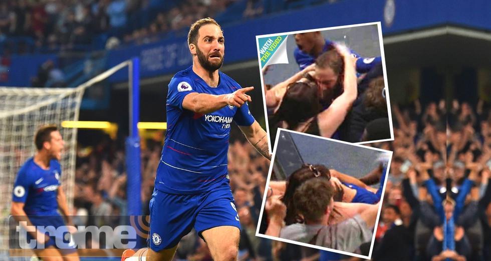 Fanática de Chelsea desata polémica por su atrevido festejo con Gonzalo Higuaín