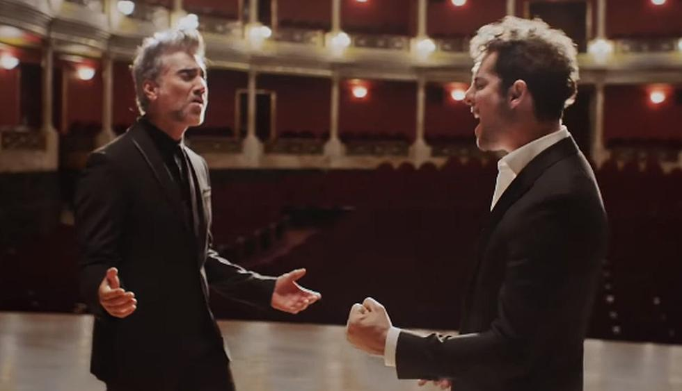 """David Bisbal y Alejandro Fernández estrenaron """"Abriré la puerta"""". (Foto: Captura)"""