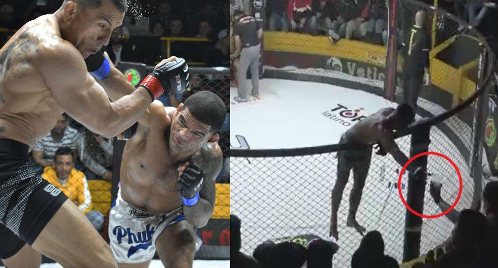 Brasileño Bananada se tomó un trago de cerveza durante pelea, en un acto muy criticado. (Fotos: Difusión FFC)