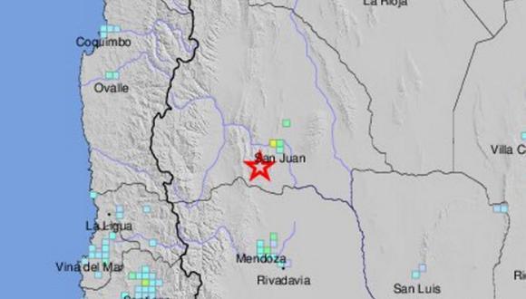 Terremoto en Argentina de magnitud 6,4. (Foto:  USGS)