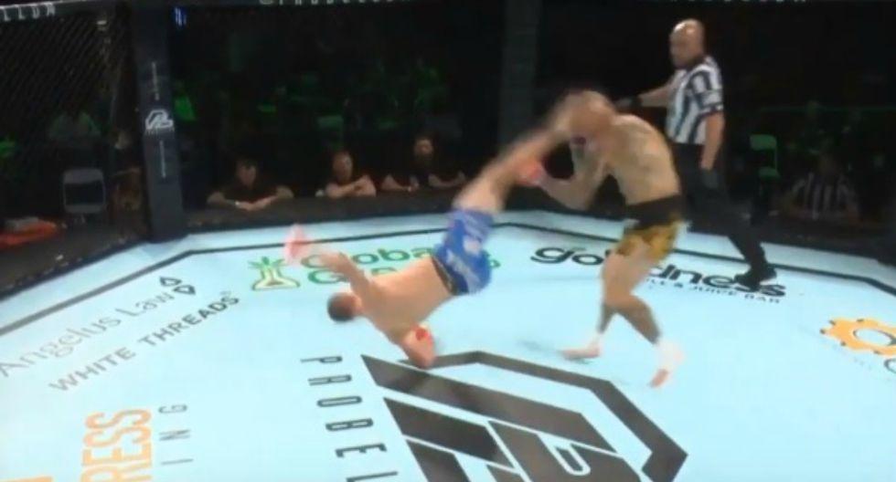 Se hizo viral en YouTube la espectacular maniobra del luchador Davy Gallon para vencer a Ross Pearson. (Foto: Captura)
