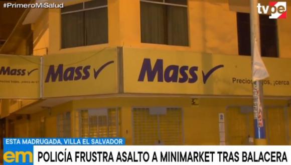 El asalto fue frustrado por agentes policiales horas antes del horario de inmovilización obligatoria. (Captura: TV Perú)