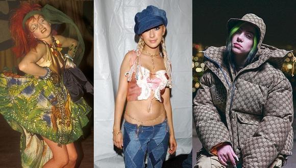 Cyndi Lauper, Christina Aguilera y hasta Billie Eilish son inspiración para crear looks de otoño invierno 2021. (Getty Images)