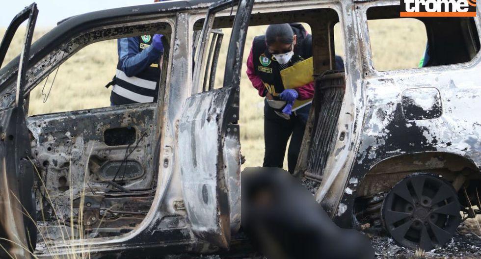 Los encierran en auto y queman vivos en presunto ajuste de cuentas en Huancayo.n Foto: Trome | Jhefryn Sedano