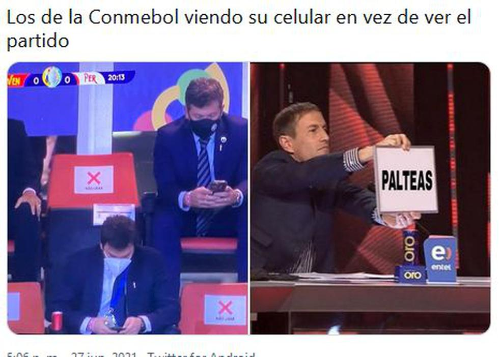 Memes de dirigentes de Conmebol mirando sus celulares durante el Perú vs Venezuela