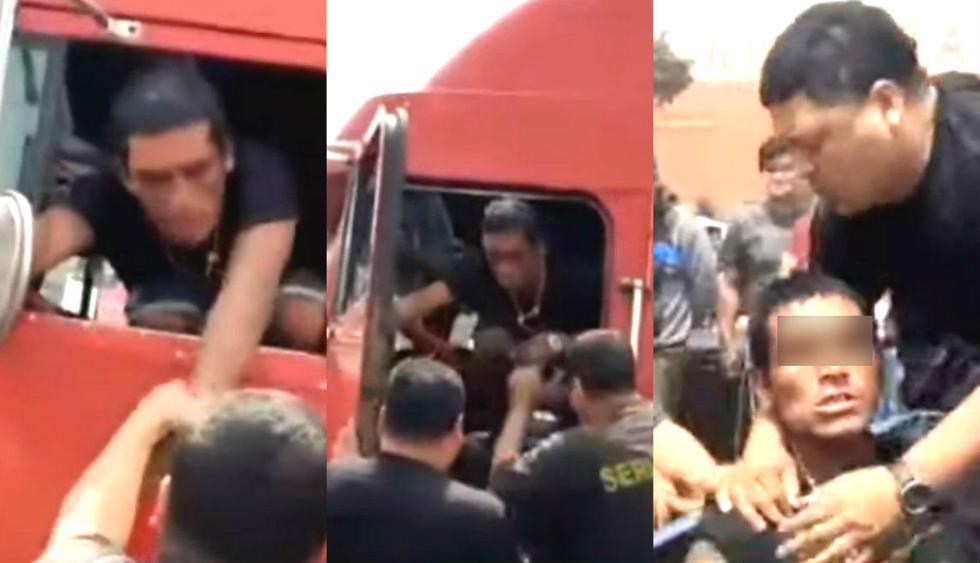Dueño de tráiler se va a almorzar y borrachito aprovecha para llevarse el pesado vehículo. Foto: Captura de ATV Noticias