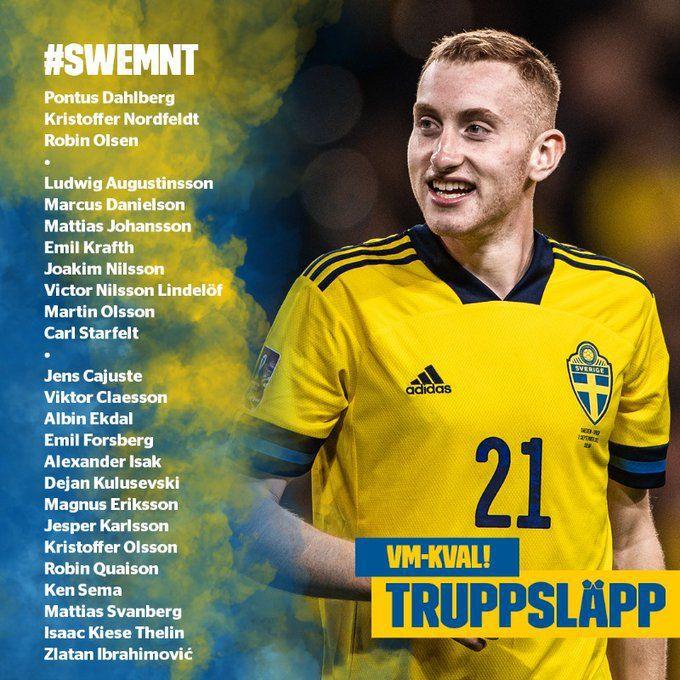 Zlatan Ibrahimovic en la convocatoria de Suecia. (Foto: Twitter)