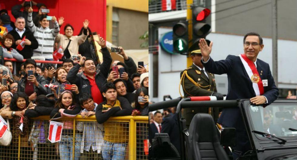 Martín Vizcarra pasea por la av. Brasil tras fin del desfile y peruanos le piden que cierre el Congreso. Foto: Fernando Sangama