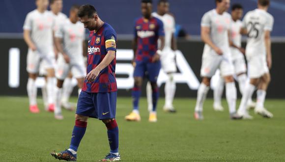 El videomarcador del Barcelona-Bayern se quedó sin espacio para nombrar a todos los anotadores 'bávaros'. (Foto: AFP)