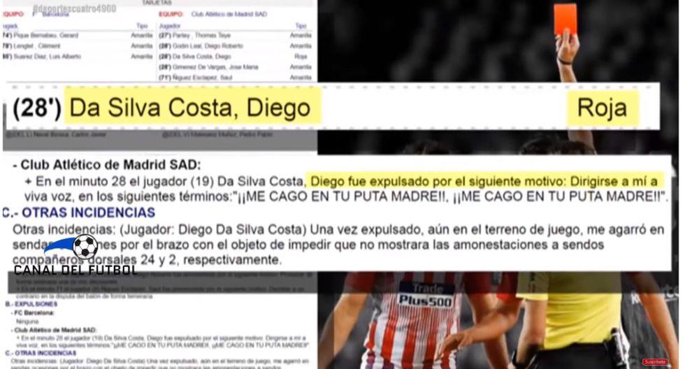 Diego Costa recibió dura sanción por mentar la madre al árbitro del Barcelona vs Atlético Madrid Video