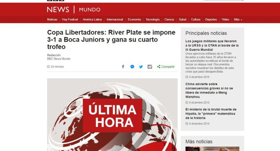 River Plate vs. Boca Juniors: Así informaron los medios del mundo la final de la Libertadores. (Captura: BBC)