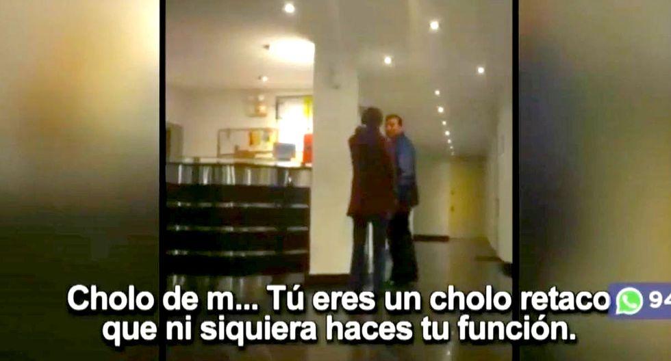 Captan a mujer insultando y humillando a conserje de edificio en Surco