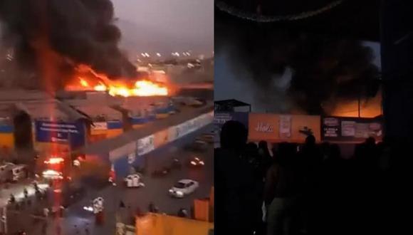 El incendio en el mercado Unicachi se puede ver a varias cuadras de distancia. (Fuente: Captura de Facebook)