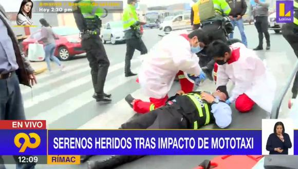 Serenos heridos tras impacto de mototaxi en Av. Alcázar. Foto: captura Latina
