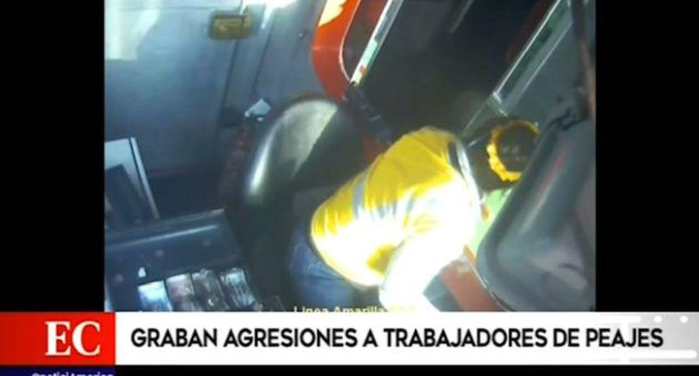 Las cámaras grabaron las agresiones contra el personal de Lamsac. (América Noticias)