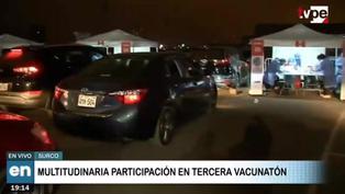 Tercera Vacunatón: Continuaron las largas colas de vehículos afuera del Jockey Plaza
