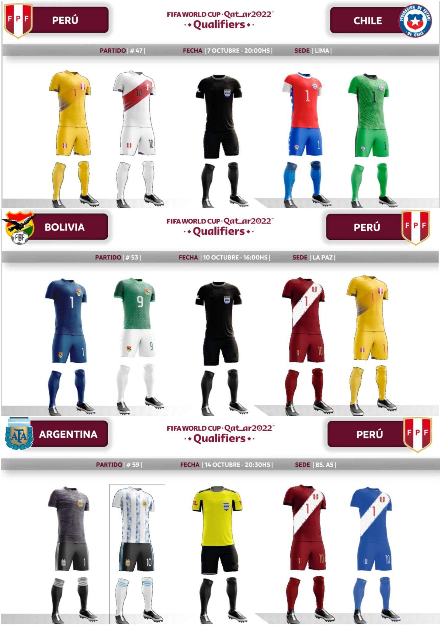 Las camisetas que utilizará la selección peruana en la fecha triple. Foto: Conmebol.