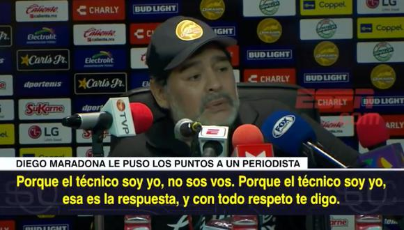 Diego Maradona no soportó una simple pregunta de periodista y respondió con soberbia tras triunfo de Dorados