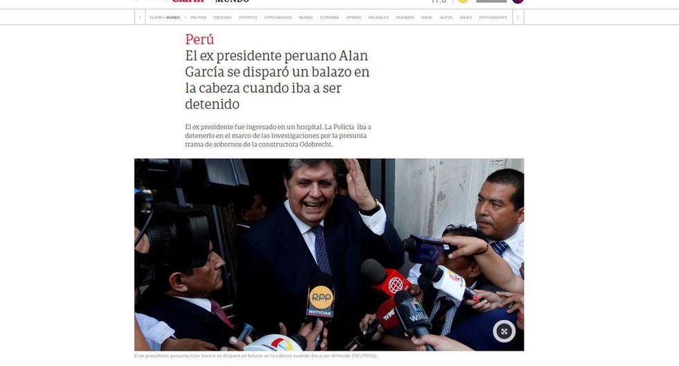 Alan García fue internado de urgencia tras detención. (Foto: Clarín - Argentina)