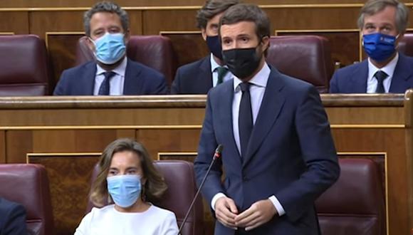 El presidente del Partido Popular, Pablo Casado, tuvo una dura intervención durante la sesión de control al Gobierno en el Congreso. (Foto: YouTube)