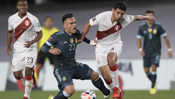 Perú enfrenta a Argentina por la fecha 12 de las Eliminatorias Qatar 2022. Foto: Juan Mabromata/AFP.