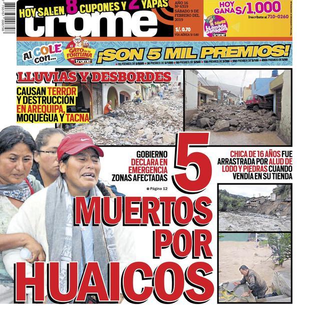 Cinco muertos por huaicos