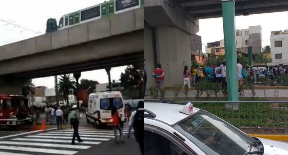 Cierran la Estación Angamos por una persona que se habría quitado la vida al lanzarse a las vías del tren | Foto: Composición de TROME con imágenes de Twitter