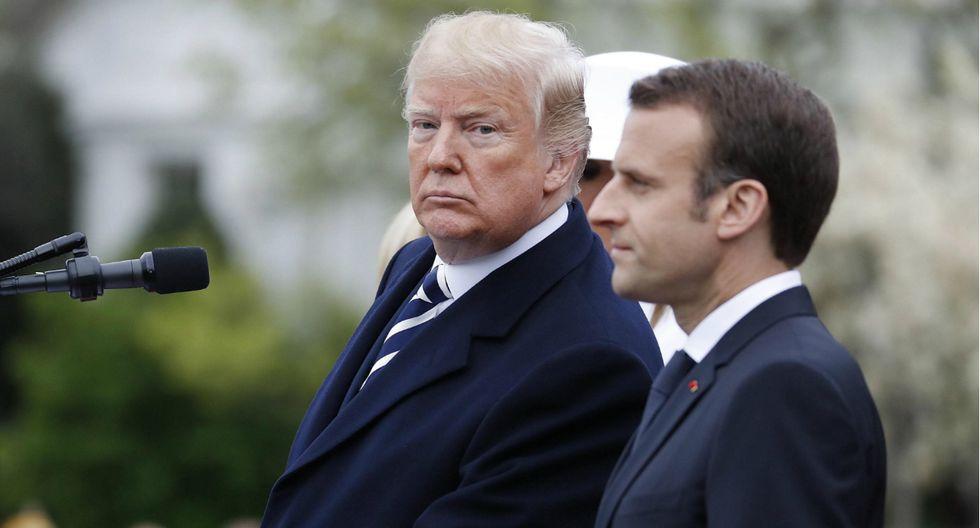 Noticias insólitas: Trump le quita la caspa del hombro a Macron en extraño gesto de amistad | EE.UU. (Fotos: AFP/EFE)