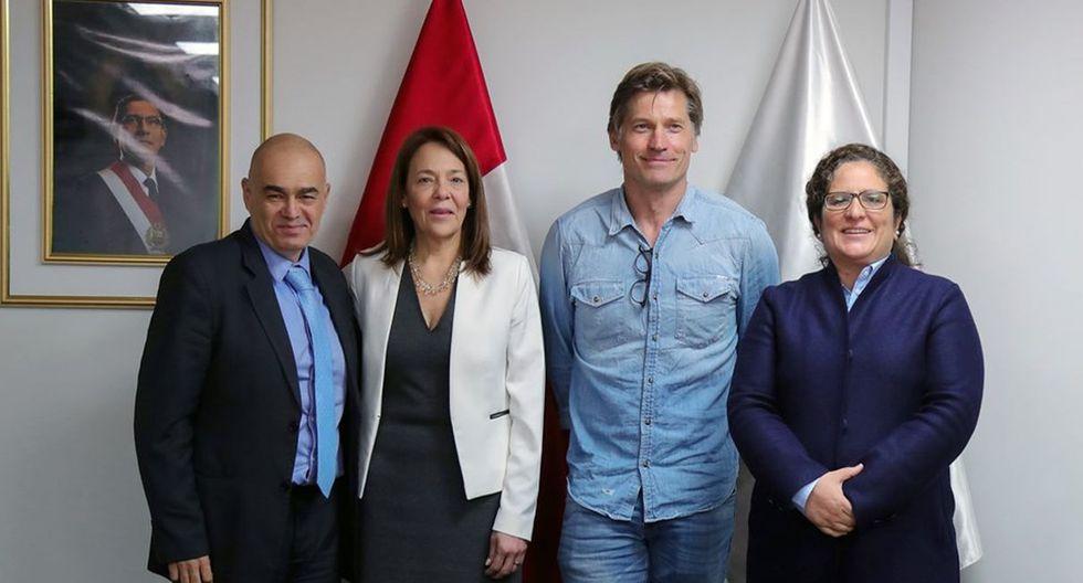 """Nikolaj Coster-Waldau, actor de """"Game of Thrones"""", se reunió con la ministra del Ambiente. (Foto: Ministerio del Ambiente)"""