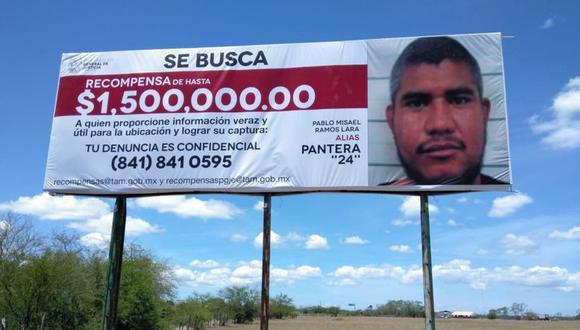 Un cartel de 'se busca' de Pablo Misael Ramos Lara alias 'La Pantera 24'. (Foto: Twitter @PGJ_Tam)