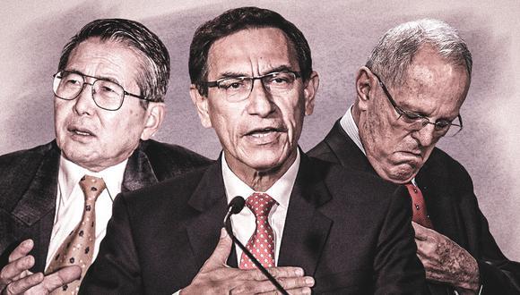 Alberto Fujimori, Martín Vizcarra y Pedro Pablo Kuczynski: Veinte años y cuatro procesos de vacancia. (Fotos: AFP)
